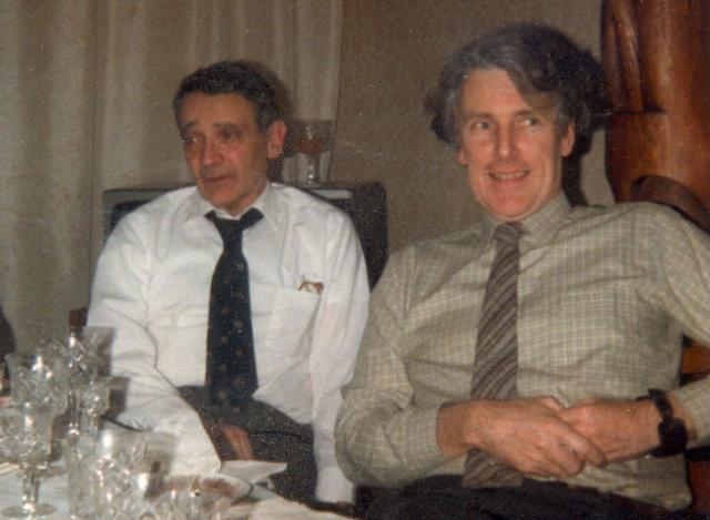 David Davies with Professor V.I. Keilis-Borok in Moscow in 1989 for nuclear test ban discussions