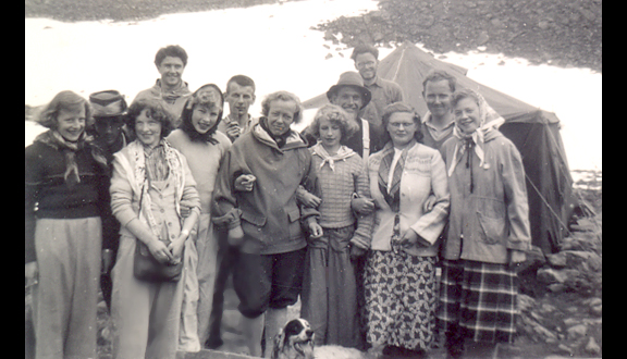 Jotunheim Glacier camp, with visiting party from Spiterstulen Lodge, 1951