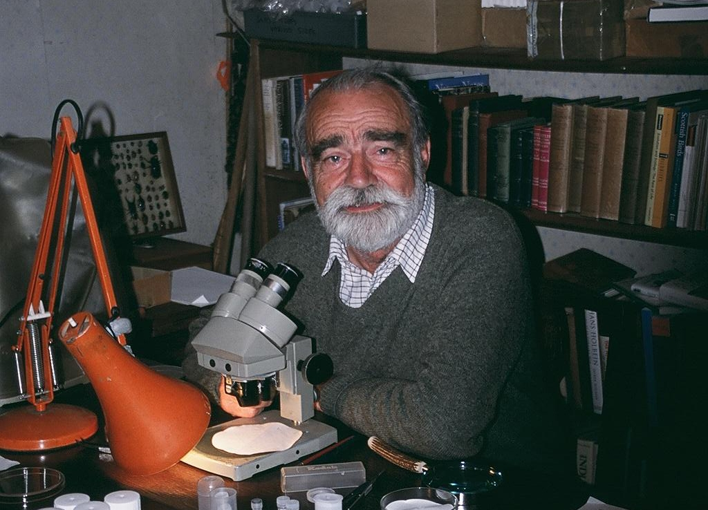 Russell Coope working in his home study during retirement, 2011.  Image courtesy Sarah Lazarus and AHOB Project
