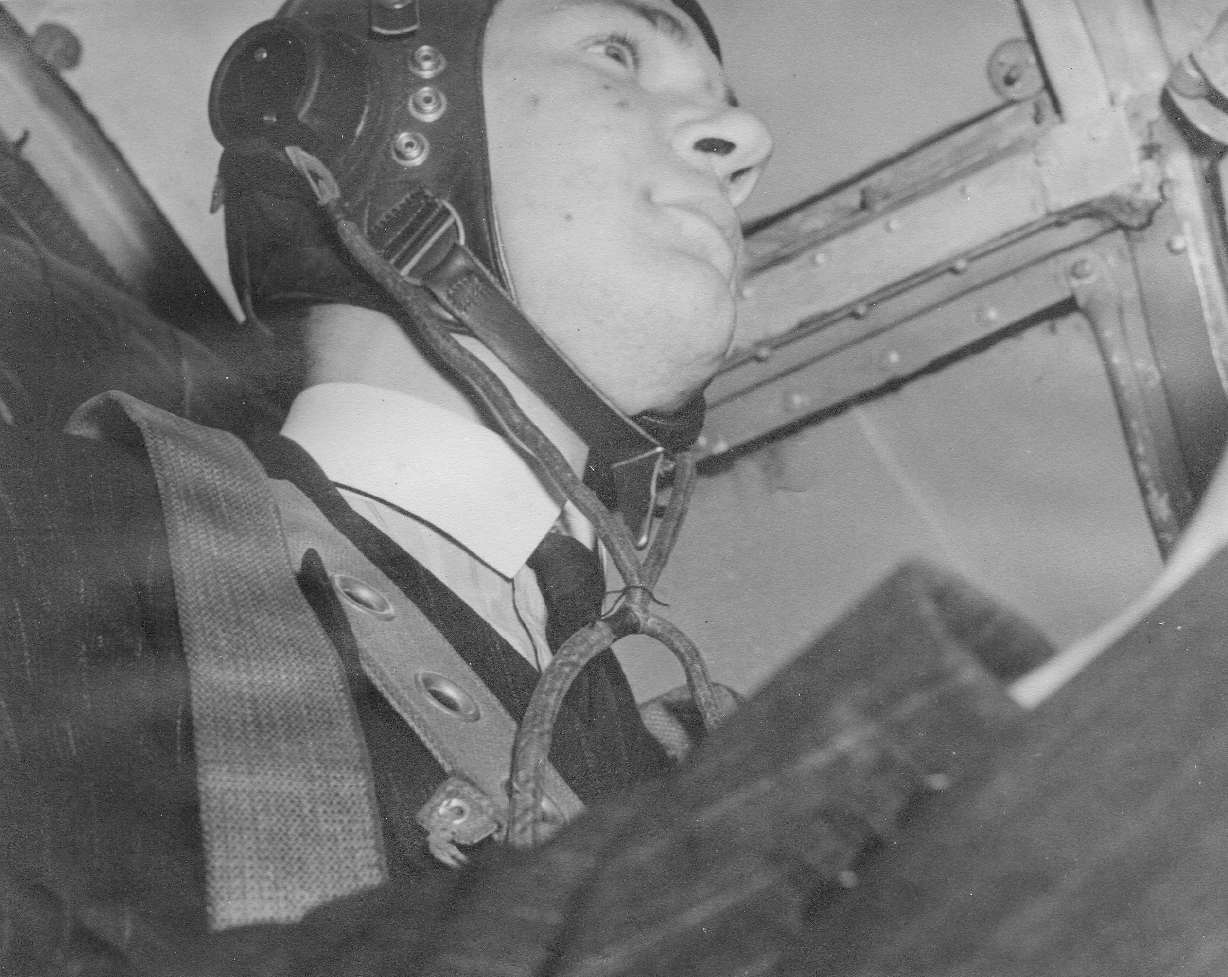Richard Brett Knowles at the controls of a Wellington LP264, 1946