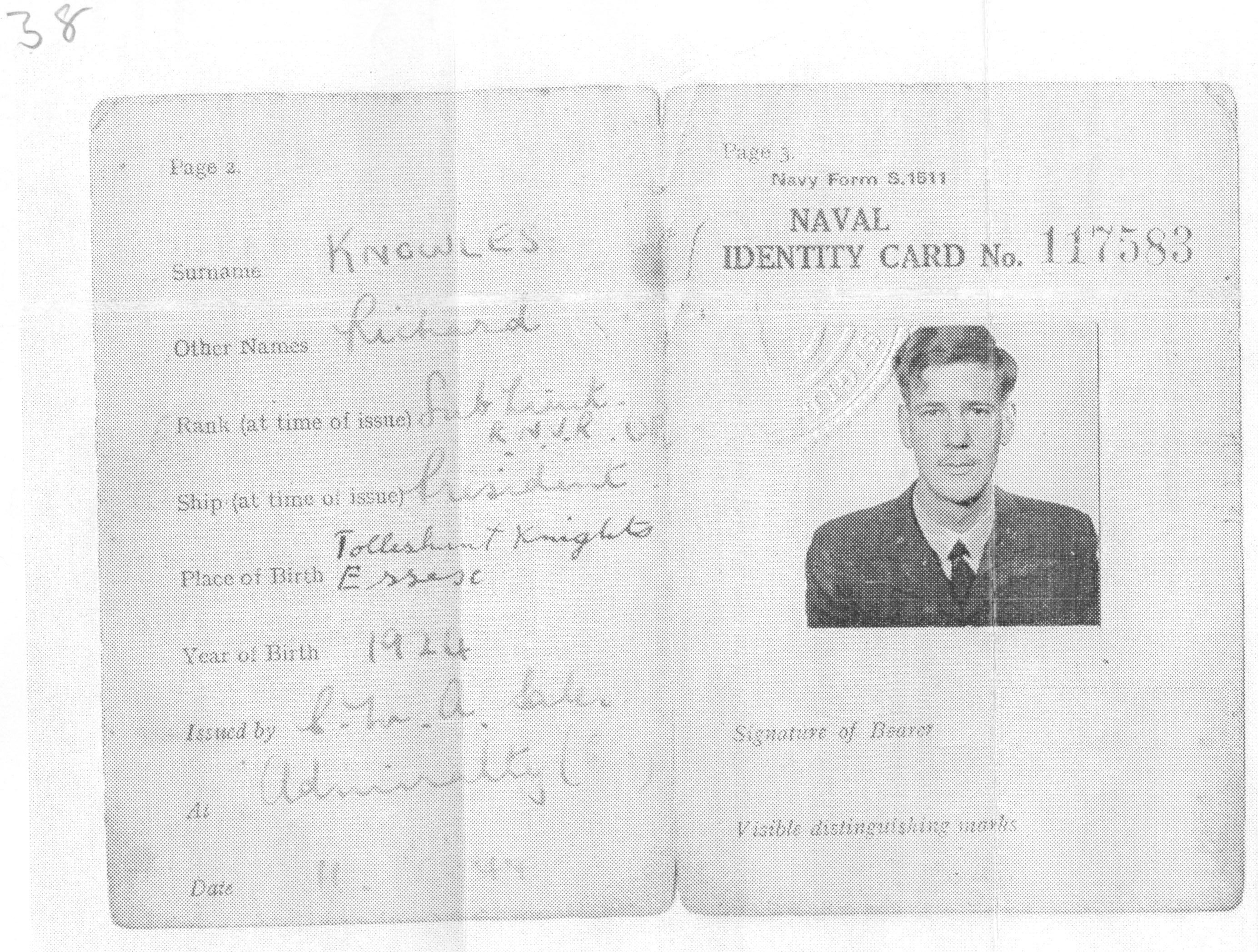 Richard Brett-Knowles' Naval Identity Card, 1944