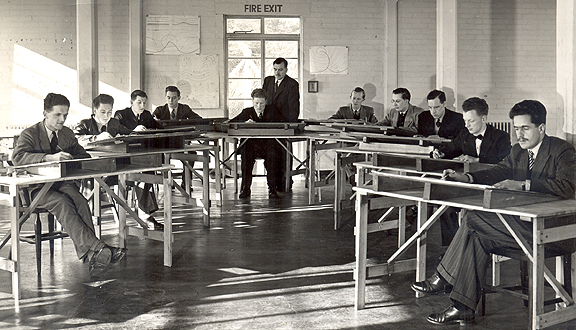 Andrew Gilchrist (centre) as student at Met Office training college, 1951 © Crown copyright 1951