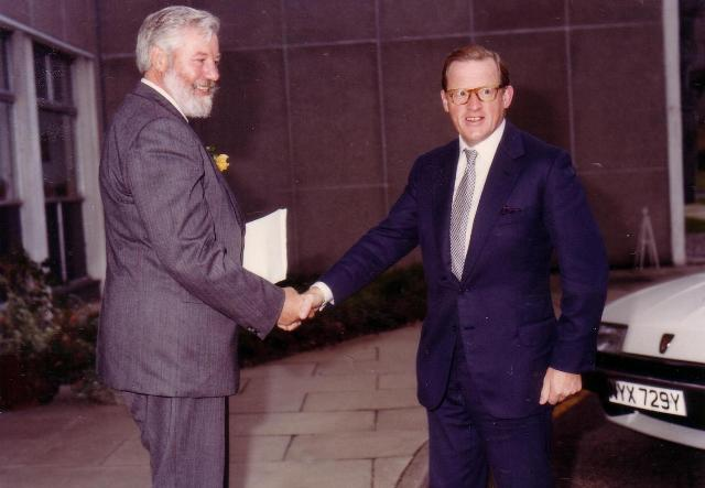 Ron Bridle with the then Secretary of State for Transport Tom King at TRRL 50th Anniversary, 1983