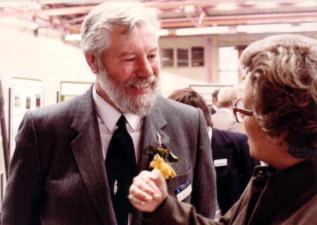 Ron Bridle with Parliamentary Under-Secretary of State for Transport Lynda Chalker at TRRL 50th Anniversary, 1983