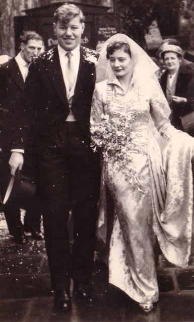 Ron Bridle and wife Beryl on wedding day, 1954