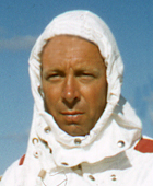 Frank Raynor in protective suit, 1957
