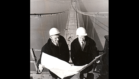 Michael Parsons (right) atop the Severn Bridge during construction, 1960s