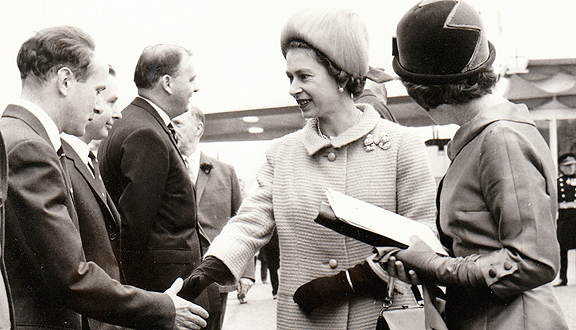 Michael Parsons meeting the Queen at the Severn Bridge opening ceremony, 1966. Photo Daily Express