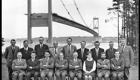Michael Parsons (front, centre left) and Severn Bridge construction team, 1965. Photo Bristol Evening Post