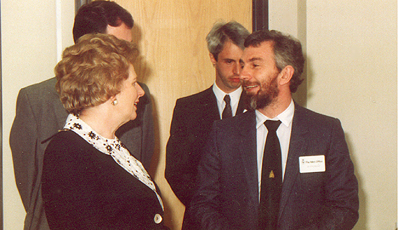 John Mitchell with Margaret Thatcher at the opening of the Hadley Centre, 1990