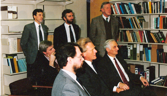 Michael Hestletine receiving briefing at the Met Office, 1980s