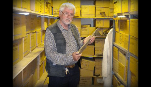Mike Baillie in wood store, University of Belfast, 2012
