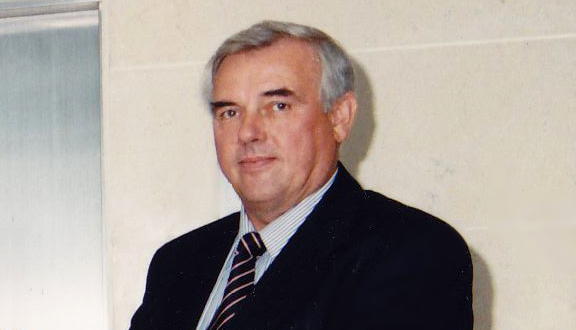 George Hockham at the opening of the Kao and Hockham laboratory, Harlow, 1994
