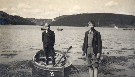 James Crease and older brother boating, 1942