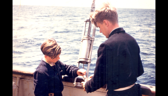 James Crease on Royal Research Ship Discovery II, summer 1954