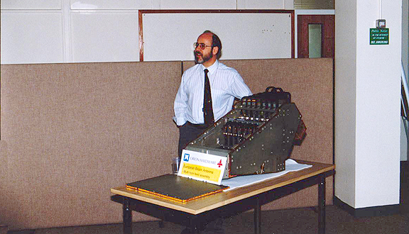 Bob Graham at a presentation on the horn antenna feeds of the Orion 1 Spacecraft, Stevenage, 1994