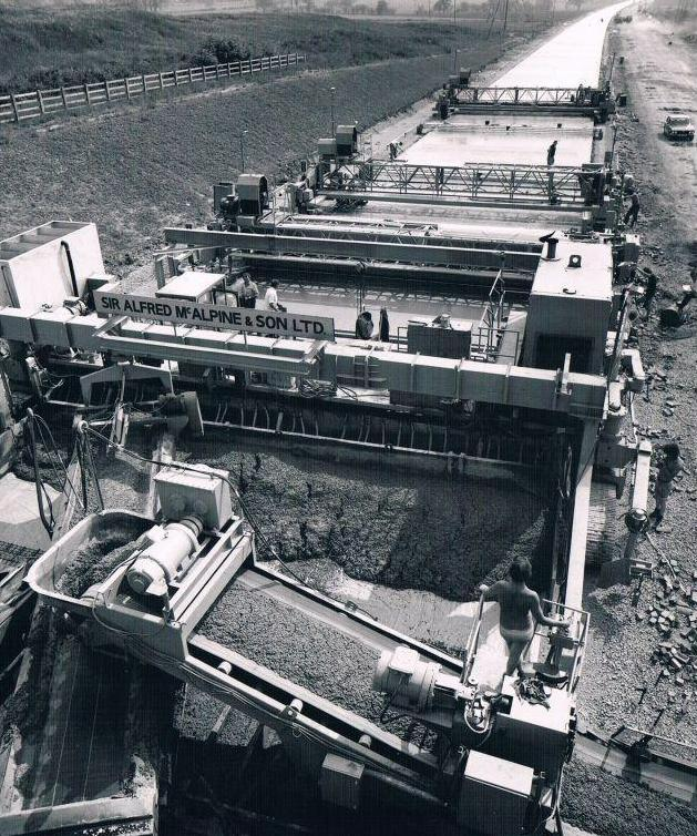 A concrete train laying the M69 near Leicester