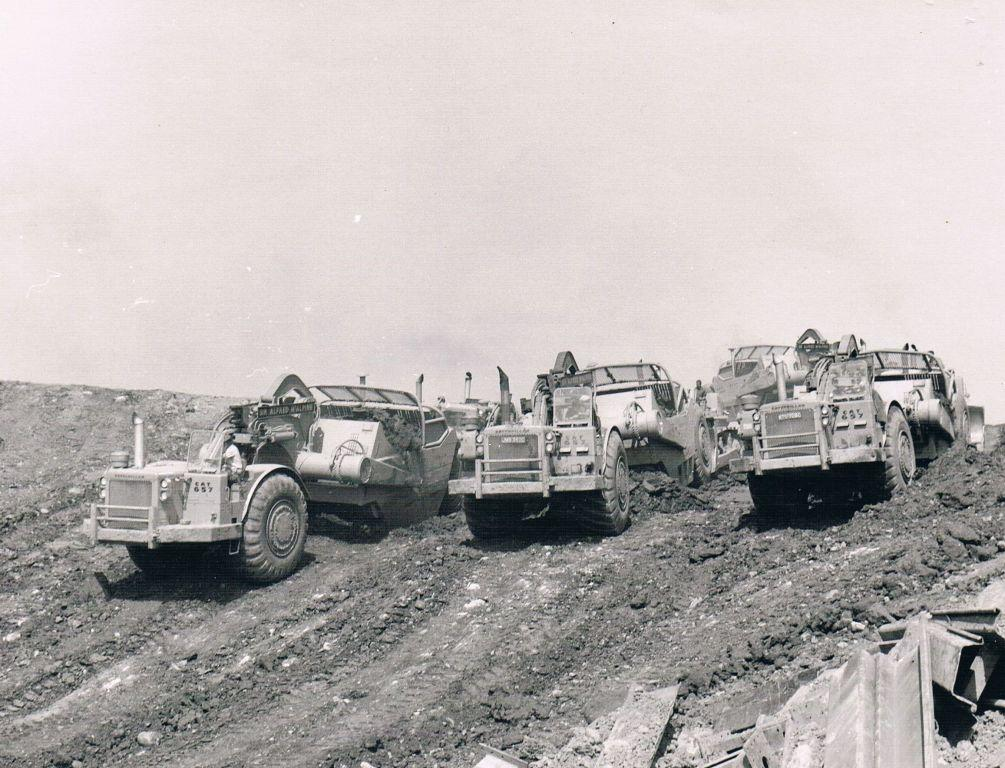 Motor scrapers near Penrith during building of M6, 1967