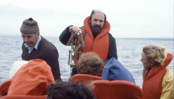 Rick Battarbee collecting cores of sediment from Loch Neagh, 1970s