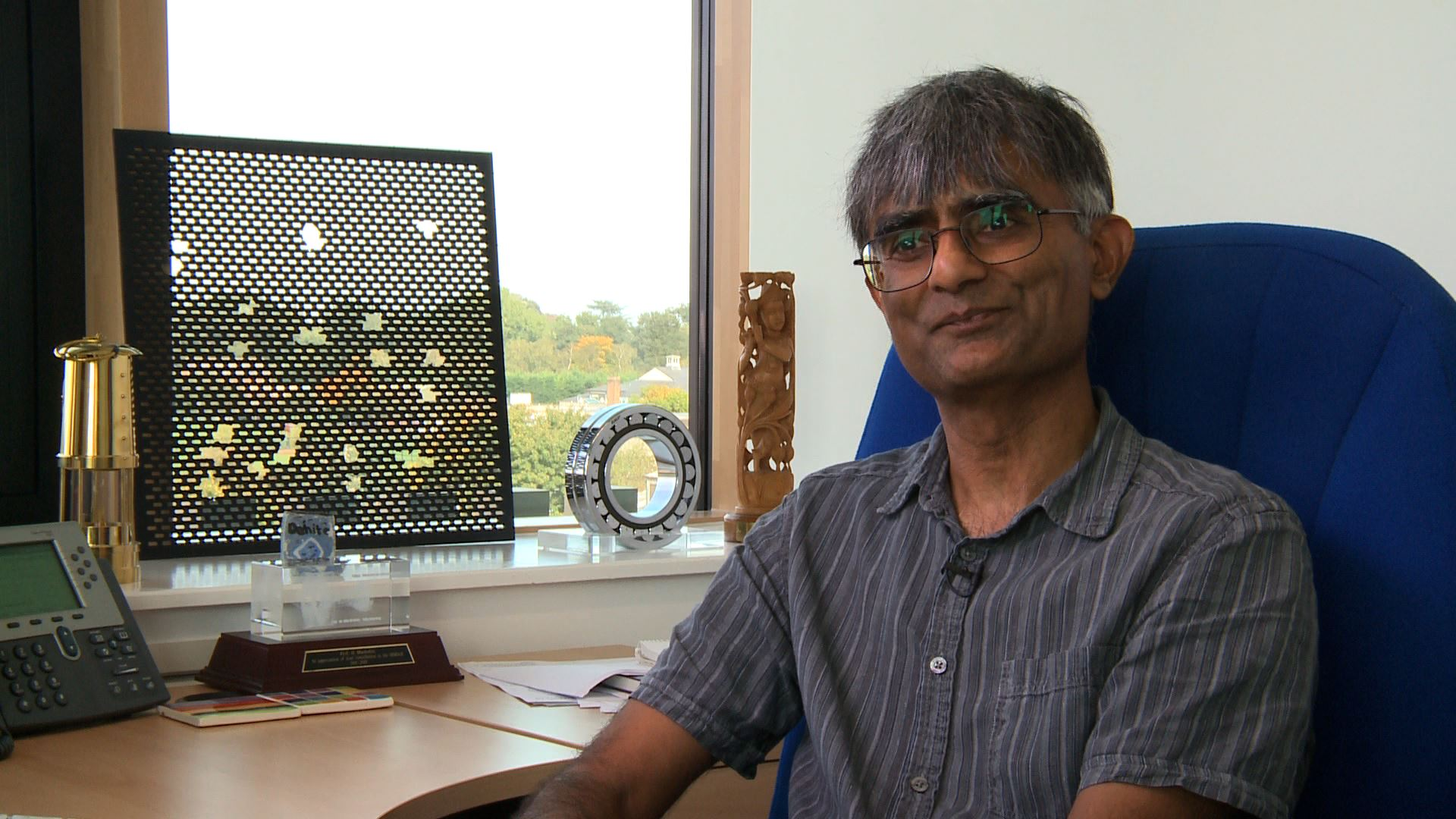 Harry Bhadeshia FRS in his office in the Department of Materials Science and Metallurgy, University of Cambridge.