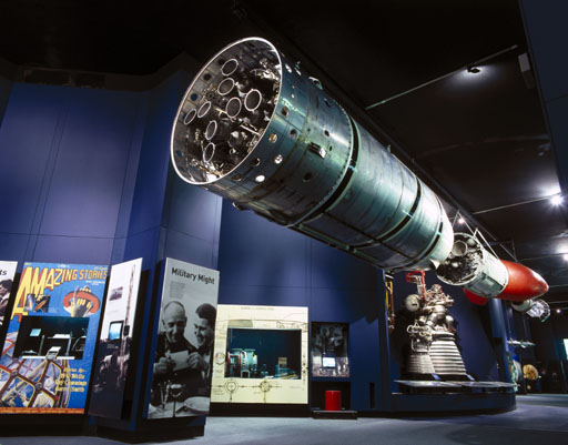 Black Arrow R4 rocket in the Space Gallery, Science Museum, 2000.  © Science Museum/SSPL