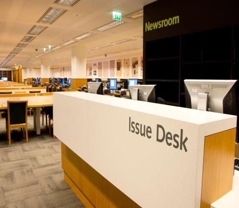 Image of the newsroom at the British Library, St Pancras, London