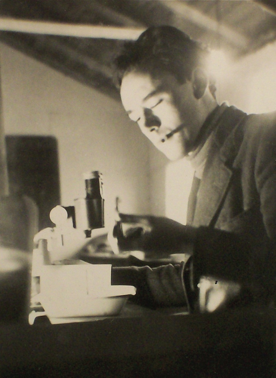 Desmond Morris in research laboratory of the Marine Biology Station on the Isle of Man, 1950